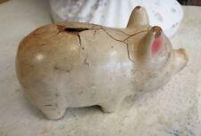 Antique Rustic Primitive Composition Piggy Pig Bank Brocante Country Farm Decor