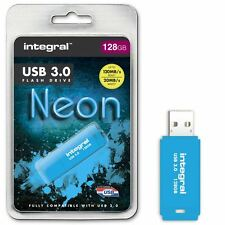 Integral 128GB Neon USB 3.0 Flash Drive in Blue - Up To 10X Faster Than USB 2.0