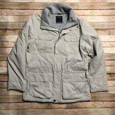 Nautica Mens Fleece Lined Field Jacket L Silver Grey Lightweight 4 Pocket