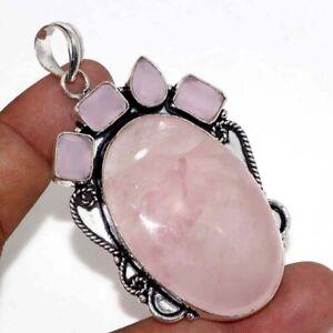 "Rose Quartz Pink Chalcedony 925 Silver Plated Pendant 2.7"" Ethnic Jewelry GW"