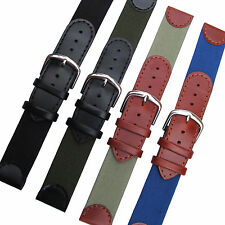 FABRIC/CANVAS & LEATHER WATCH STRAP - Military, Timex Expedition, Lorus 18, 20mm
