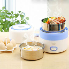 Electric 1.6L Portable Lunch Box Mini Rice Cooker Steamer 2 Layer StainlessSteel