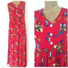 Vintage 80s Floral Jumper Dress Size Small Sleeveless Long Maxi Grunge Rockstar