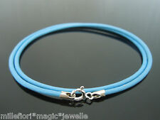 """2mm Light Blue Leather & Sterling Silver Necklace Or Wristband 16"""" 18"""" 20"""" 22"""""""