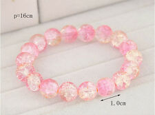 Fashion Vintage Shiny Pink Crystal Glass Beads Bracelet Women Charm Bangle New