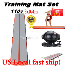 3x0.4m Gymnastics Inflatable Air Tumbling Balance Tumbling Track GYM Mat W/ Pump