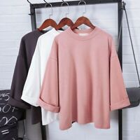 Womens Casual 3/4 Sleeve T-Shirt Large Size Loose Skinny Pullover Blouse Tops