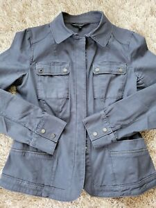 White House Black Market Military Style Cotton Stretch Jacket Sz 8 Stunning!
