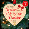 First 1st Christmas as MR & MRS PERSONALISED Christmas Decorations Xmas Baubles