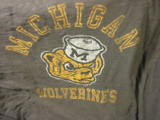 Soft MICHIGAN WOLVERINES Throwback 1970's Logo Long Sleeve T Shirt XL '47 Brand