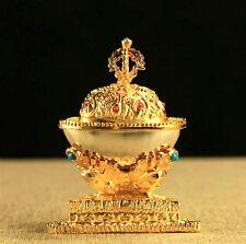Tibet Tibetan Buddhist Golden Kapala - Ritual Offering Chapel Meditation Alloy