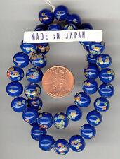 40 Vintage Japan NAVY MILLEFIORI Art Glass Beads 9.5-10m #345