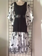 Kerry Damiano Designer Small Belted Maxi Dress NWT $195 Black White Bell Sleeves