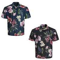 Jack & Jones Lamar Mens Floral Polo Shirts Short Sleeved Beach Summer Tee Shirts