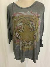 Chaser Womens Gray Tiger Print Long Sleeve Oversized Top T Shirt Small