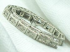 Estate Antique Victorian 14K White Gold Filigree Bracelet 9.0 grams