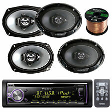 "Pioneer USB CD Bluetooth AUX RAdio, 4 6X9"" 550W 3-Way Speakers, 14g Speaker Wire"