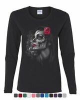 Day of the Dead Girl Women's Long Sleeve Tee Skull Face Dia de Los Muertos Roses