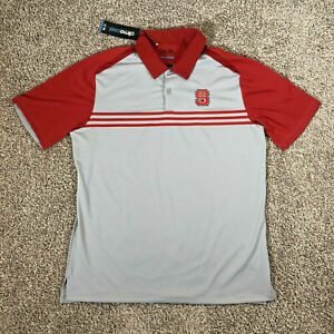NC State Wolfpack Golf Shirt Adidas ClimaCool Polo NCAA Red Gray Size Large NWT