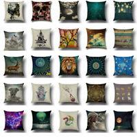 "Cotton Linen Standard 18"" Pillow Case Sofa Car Waist Cushion Cover Home Decor"