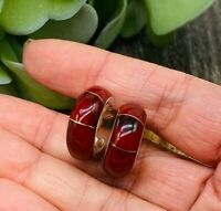 Red jasper Stone 925 Sterling Silver Hoops Posts Earrings Made in Taxco Mexico