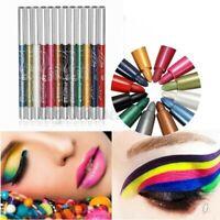 12x Farben Glitter Eye Shadow Eyeliner Lip Liner Bleistift Stift Kosmetik  S +F