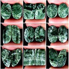 Natural Green Seraphinite Mix Pair Cabochon Untreated Loose Gemspair PK44