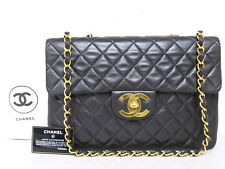 rk5106 Auth CHANEL Black Quilted Lambskin Leather Maxi Double Chain Shoulder Bag