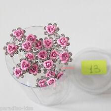 5 Pezzi Forcine Fiore 10mm Strass Acconciatura Sposa Matrimonio col.13 pink F01
