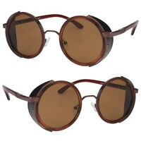 Vintage Retro Mirror Round SUN Glasses Goggles Steampunk Punk Sunglasses Brown
