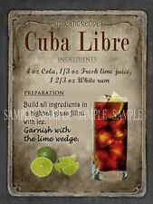 CUBA LIBRA COCKTAIL RECIPE,CAFE PUB, MAN SHED,HOME DECOR:METAL SIGN GIFT