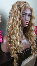 Beautiful Blonde Mix Wavy Lace Front Wig Heat Safe