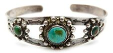 VINTAGE Sterling Silver / Turquoise Navajo Ladys Cuff Bracelet