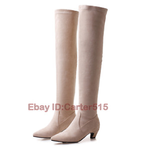 Women's Pointy Toe Kitten Heel Over Knee Thigh Boots Party 3 Colors Casual Shoes