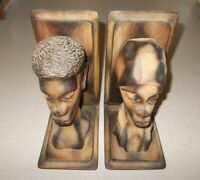 Book ends pair man woman hand carved wood Andre Decembre Haiti vintage rare