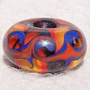 WAVELENGTH #3 Handmade Large-Hole Glass Bead Flaming Fools Lampwork Art Glass