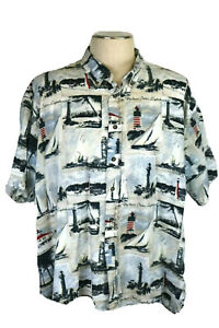 Knights Sportsweart Men's 3XL S/S Shirt, Florida Lighthouses, Patriotic R/W/B