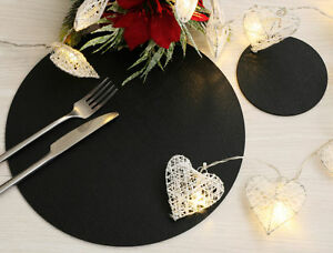 Set of 6 Classic Black Leatherboard Round Placemats and 6 Coasters - Made in UK