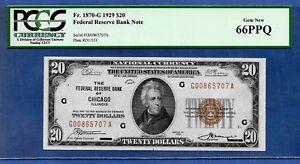 1929 $20  FRBN   ♚♚ CHICAGO ♚♚  PCGS GEM NEW 66 PPQ