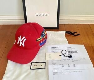 Gucci Red NY Patch Cap. One Size. GG Hat