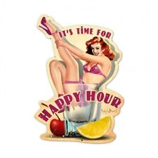 Its Time For Happy Hour Metal Sign Pin Up Girl Bar Alcohol Drink Vintage Style