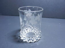 "Bryce Factory B Amazon Flat Tumbler Clear Floral Etch 4"" T ca 1890's"