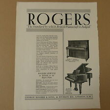 vintage advertise ROGERS PIANOS London, 1936