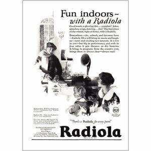 1925 Radiola: Fun Indoors with a Radiola Vintage Print Ad