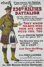 WW1 RECRUITING POSTER 236th bn NEW BRUNSWICK KILTIES CANADA NEW A4 PRINT