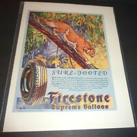 FIRESTONE  1930  LARGE VINTAGE AD   SURE FOOTED SUPREME BALLOON TIRES  SEE PICS