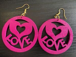 Cerise Pink/Purple Love Heart Wood Carving Eco Laser Cut Drop Dangle Earrings