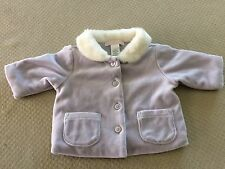 JANIE AND JACK Purple Velour Button Up Jacket with White Faux Fur Collar 0-3 Mos
