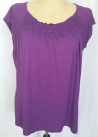 Chicos Women's Knit Top Shirt Size 3 XL Purple Short Sleeve Rayon Stretch