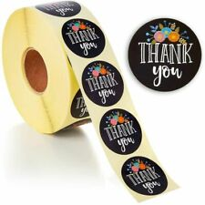 1 Roll of 500 Floral Thank You Stickers, Round Sealing labels Stickers, 1.5